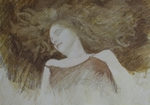 image of figurative watercolor and pastel drawing Portrait Study #2 by David Ladmore