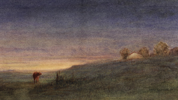 image of watercolor landscape painting Prairie Sunrise by David Ladmore