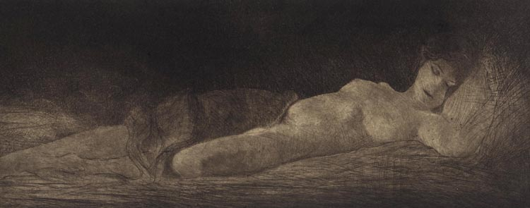 image of figurative etching with drypoint print Reclining Nude by David Ladmore