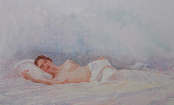 image of watercolor nude Reclining Nude III by David Ladmore