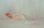 image of watercolor nude painting Reclining Nude #4 by David Ladmore