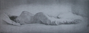 image of figurative drypoint etching Reclining Nude II by David Ladmore