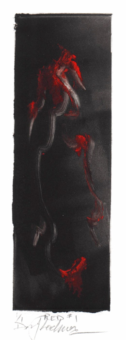 image of monotype print Red #1 by David Ladmore