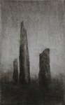 image of landscape engraving with drypoint and mezzotint etching Sacred Stones by David Ladmore