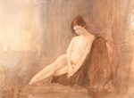 image of nude watercolor painting Seated Nude III by David Ladmore