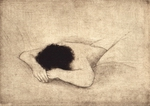 image of figurative drypoint etching Sleeping Figure by David Ladmore