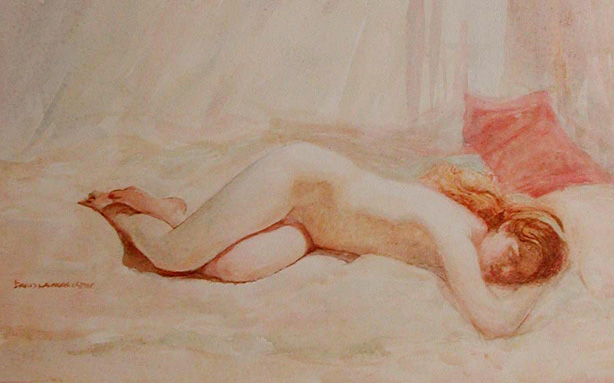 image of watercolor nude Sleeping Nude by David Ladmore
