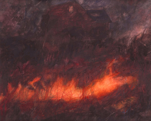 image of watercolour landscape painting Spring Burning by David Ladmore