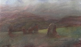 image of watercolor landscape painting Standing Stones IV by David Ladmore