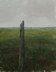 image of watercolor landscape painting Standing Stones VIII by David Ladmore