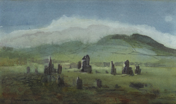 image of watercolour landscape painting Stone Circle by David Ladmore
