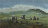 image of watercolor landscape painting Stone Circle by David Ladmore