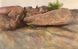 image of watercolor landscape painting Study for Rocks by David Ladmore