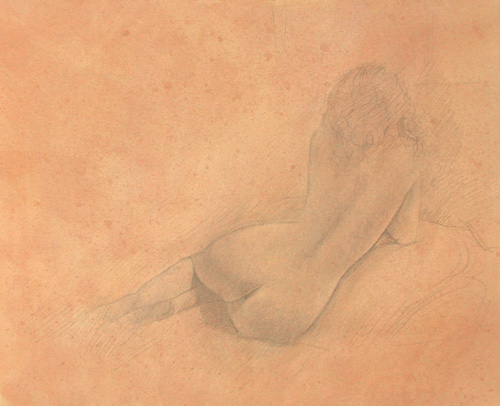 image of nude silverpoint drawing Study for Repose #1 by David Ladmore