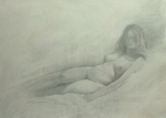 image of nude silverpoint drawing Study For Repose #2 by David Ladmore