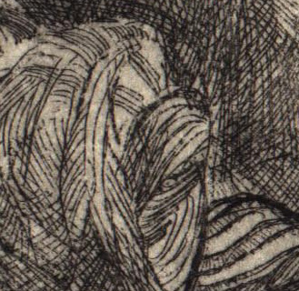 detail from figurative etching Traveller by David Ladmore