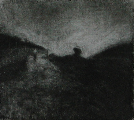 image of landscape mezzotint etching Traveller IV by David Ladmore