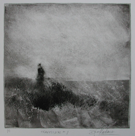 image of monotype print Traveller #1 by David Ladmore depicting a figure walking near the ocean at Dallas Road