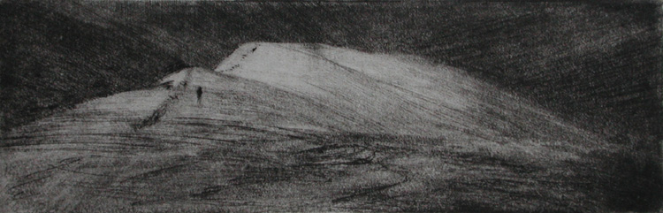 image of landscape drypoint etching Traveller III by David Ladmore