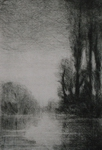 image of landscape drypoint etching Twilight Remembered by David Ladmore