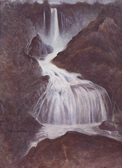 image of watercolour landscape painting Waterfall by David Ladmore