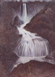 image of watercolor landscape painting Waterfall by David Ladmore