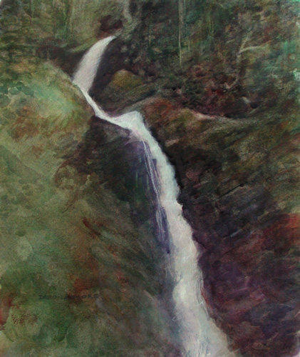 image of watercolor landscape painting Waterfall #5 by David Ladmore