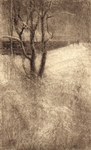 image of landscape mezzotint with drypoint etching Winter Hill III by David Ladmore