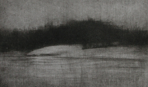 image of landscape mezzotint with drypoint etching Winter III by David Ladmore