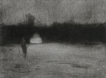image of landscape mezzotint with drypoint etching Winter II by David Ladmore