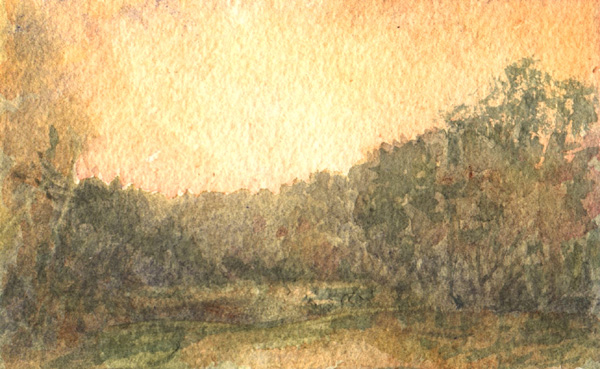 image of watercolor landscape painting Witty's Lagoon III by David Ladmore