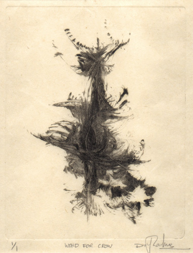 image of monotype print The Word For Crow by David Ladmore